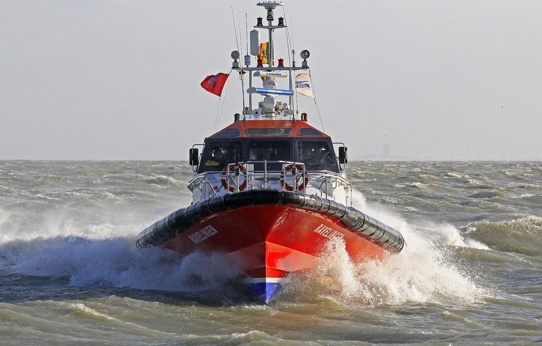 Photo wallpaper waves, sea, view, bow, port, pilot boat, radars, furuno