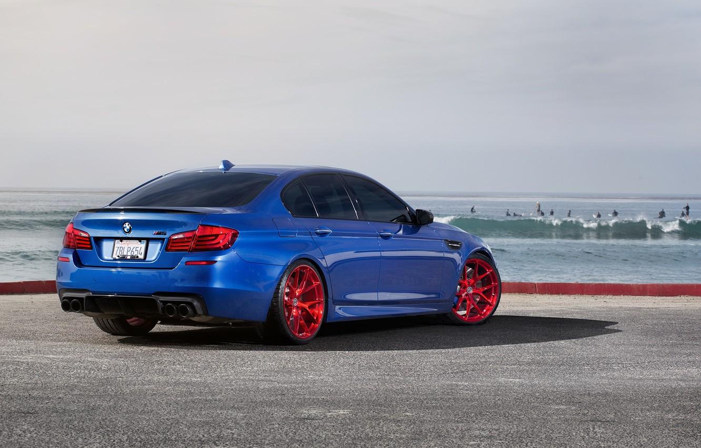 Photo wallpaper blue, reflection, bmw, BMW, shadow, back, f10, monte carlo blue