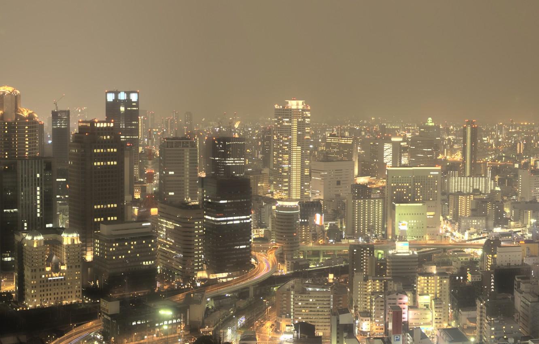 Photo wallpaper The sky, Road, Lights, Night, The city, Japan, Panorama, Movement, Skyscrapers, Japan, Wallpapers, Multi Monitors, …