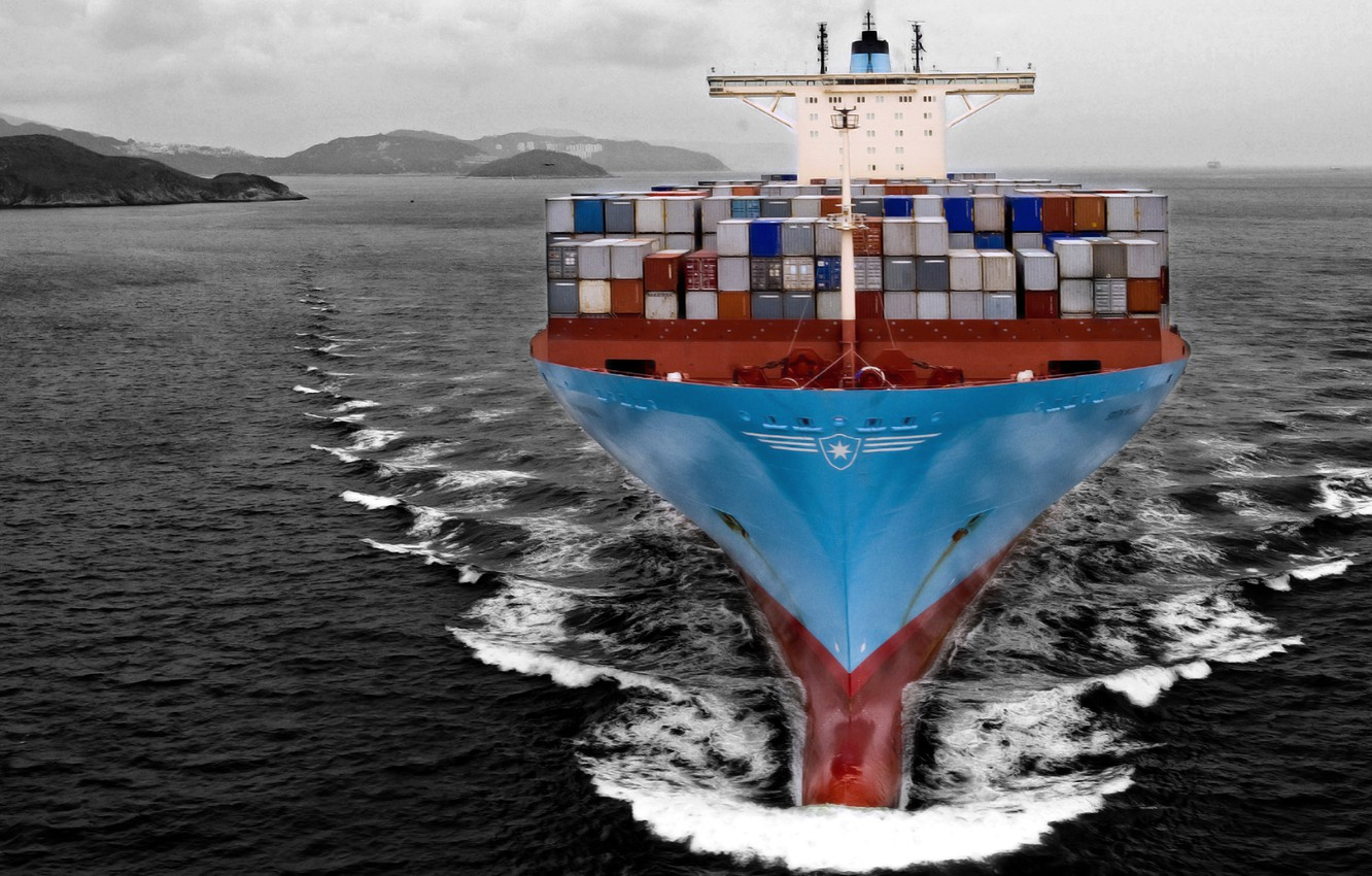 Photo wallpaper Sea, The ship, A container ship, Tank, Black And White, Cargo, Maersk Line, On The ...