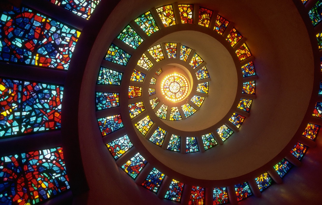 Photo wallpaper light, Windows, spiral, stained glass