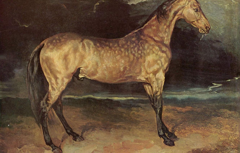 Photo wallpaper the storm, grey, picture, mane, Horse, Louis, Jean, Theodore, Géricault