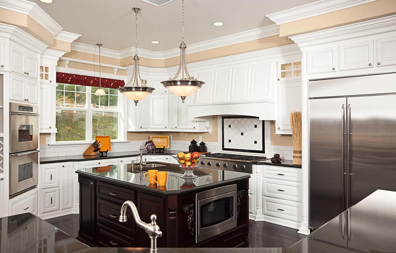 Photo wallpaper table, crane, window, kitchen, plate, chandelier, oven