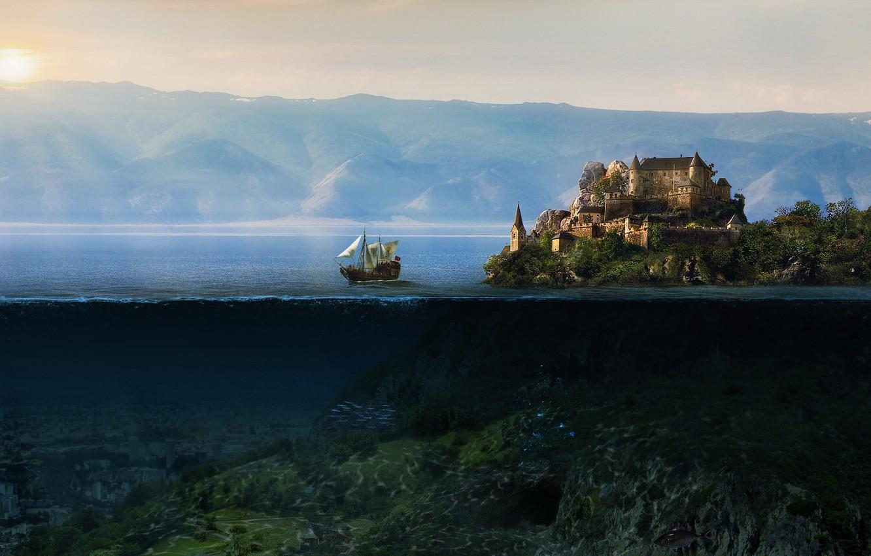 Photo wallpaper the sun, mountains, castle, the ocean, island, underwater world, korabl