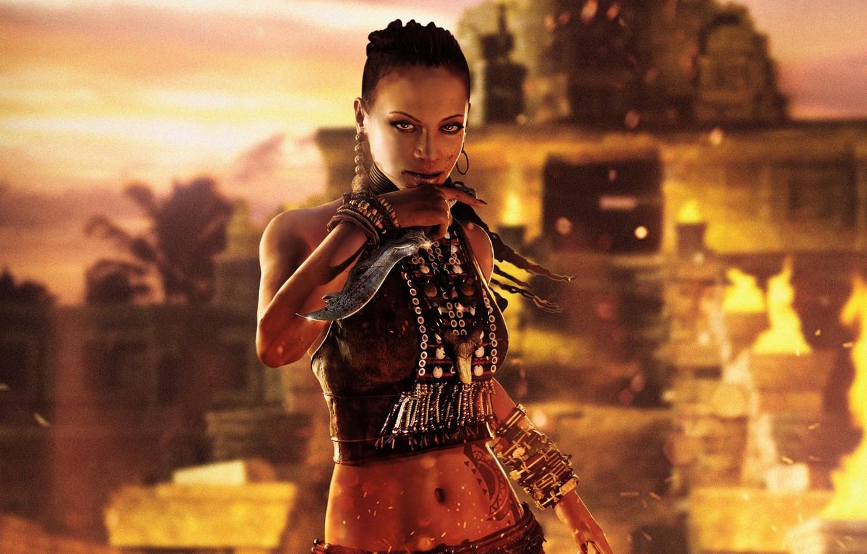 Photo wallpaper look, girl, fire, blood, island, knife, beads, dagger, bracelet, Queen, Ubisoft, Far Cry 3, sister, …