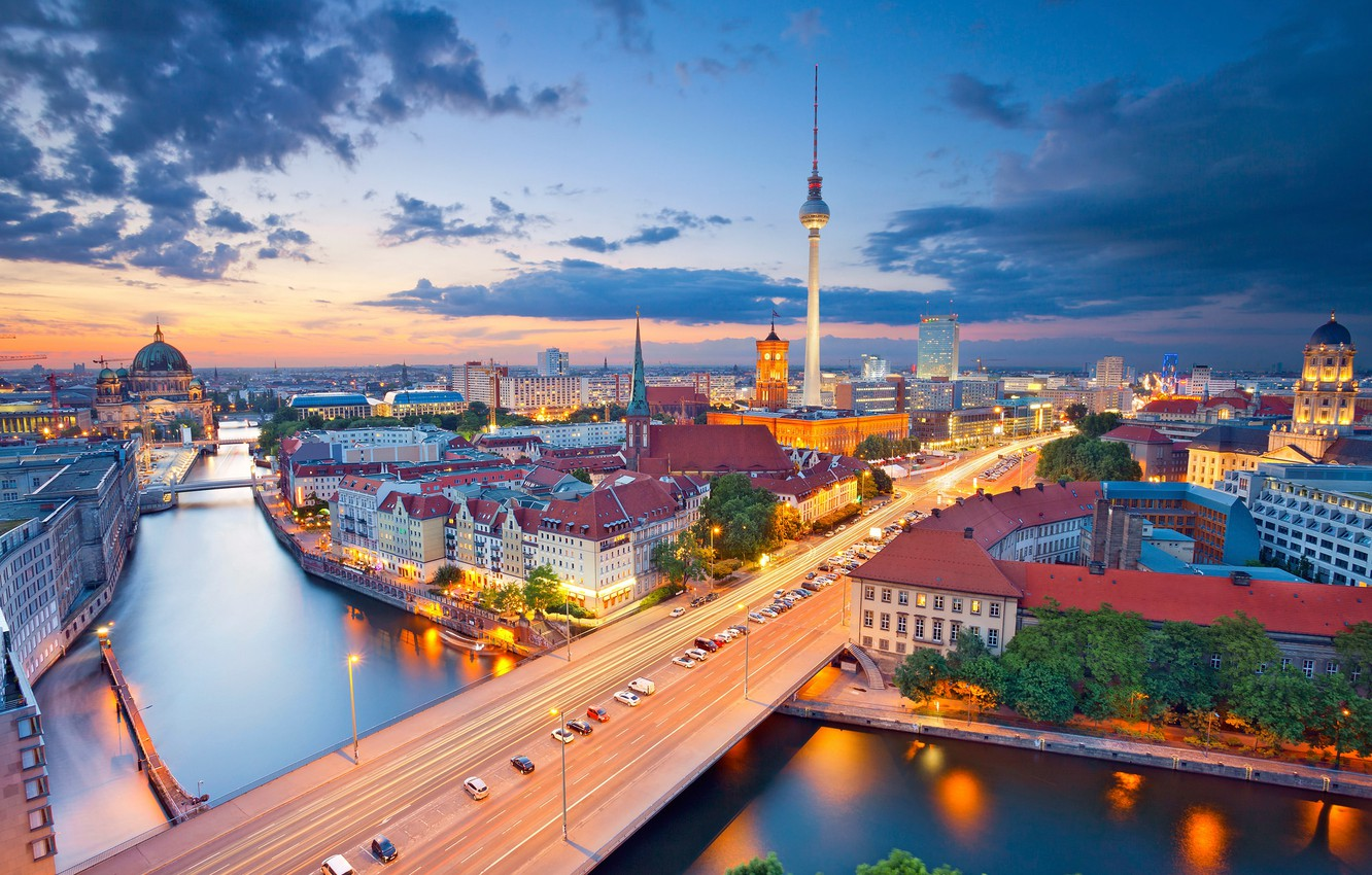 Photo wallpaper night, lights, river, tower, home, Germany, panorama, Cathedral, Berlin