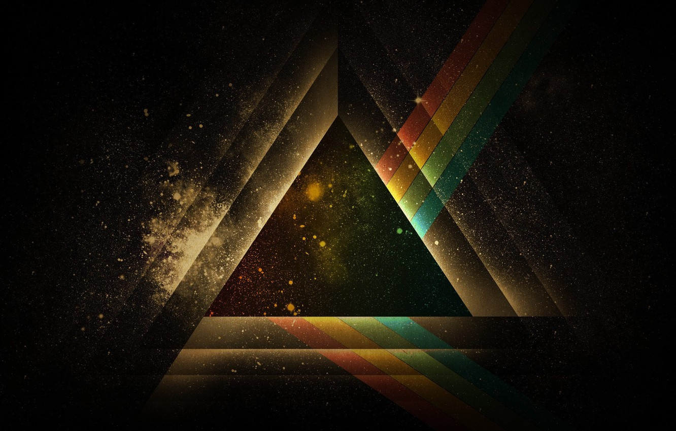 Photo wallpaper Minimalism, Galaxy, Space, The universe, Triangle, Pink Floyd, Abstraction, Figure