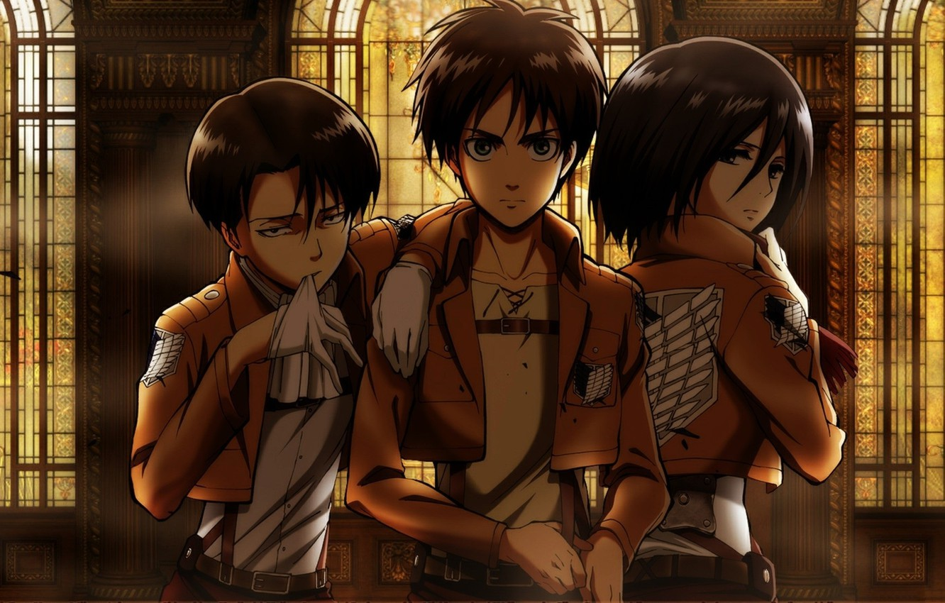 Wallpaper Gloves Stained Glass Emblem Hall Friends Three Military Uniform Shingeki No Kyojin Mikasa Ackerman Levi Eren Yeager By Hajime Isayama Images For Desktop Section Syonen Download