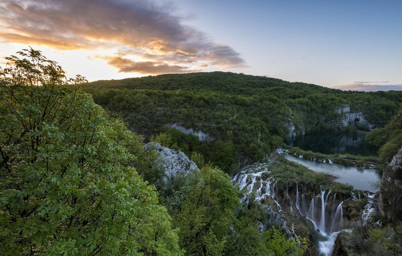 Photo wallpaper trees, mountains, lake, view, morning, waterfalls, Croatia, national Park, Plitvice lakes