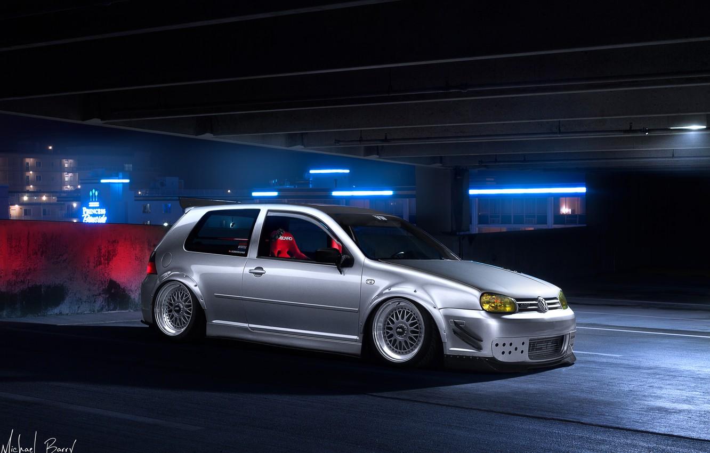 Photo wallpaper night, tuning, volkswagen, Parking, white, golf, tuning