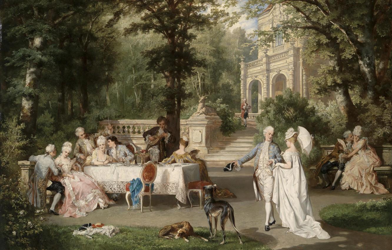 Wallpaper Dogs Trees Park Table Ladies Picture Austria