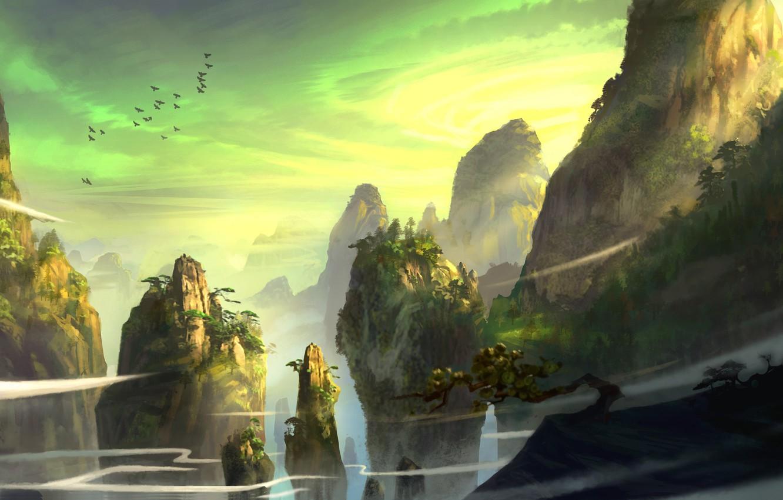 Photo wallpaper trees, mountains, birds, rocks, the wind, dust, art, coniferous, feng liu, pursue