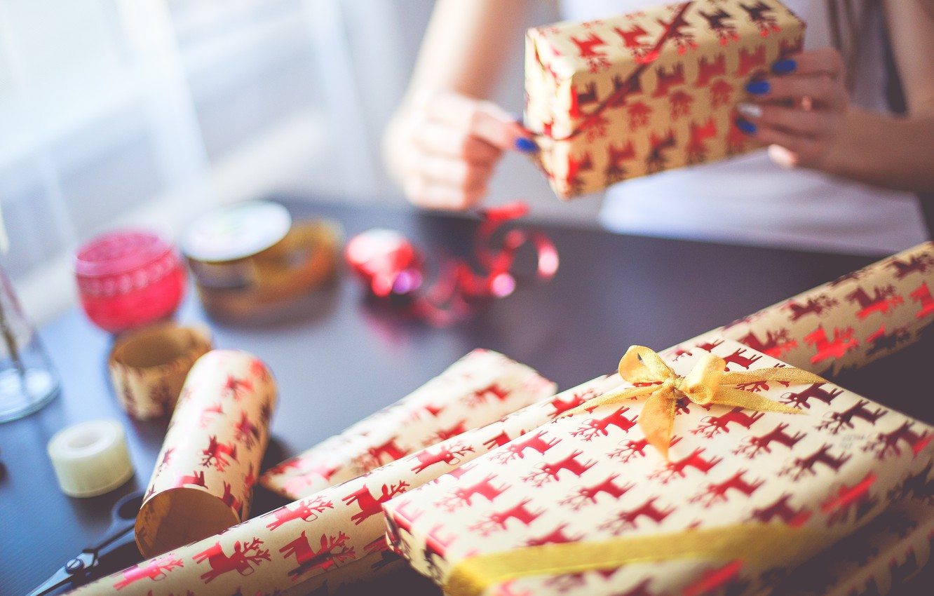 Photo wallpaper holiday, gift, New Year, tape, bow