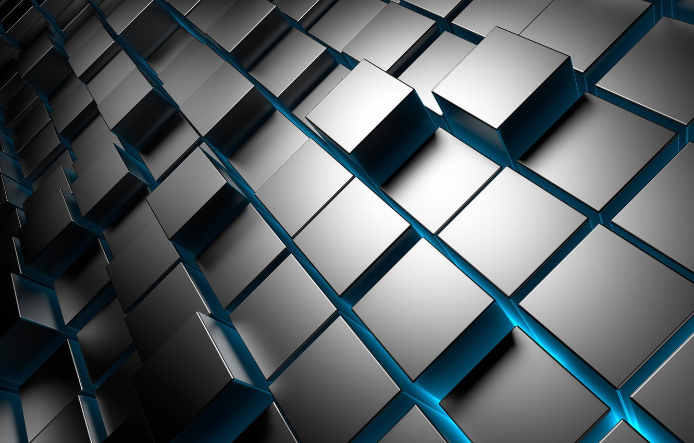 Photo wallpaper Cuba, metal, square, cubes, chrome, brick