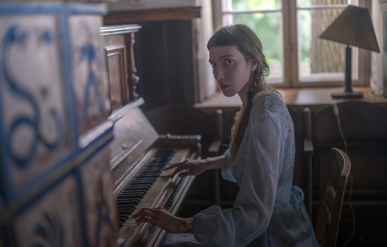 Photo wallpaper girl, music, piano