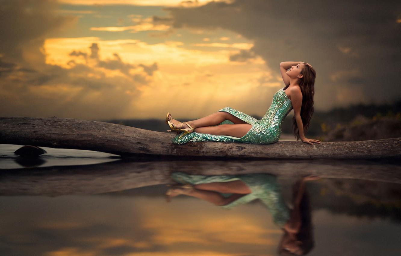Photo wallpaper water, reflection, dress, legs, Mermaid