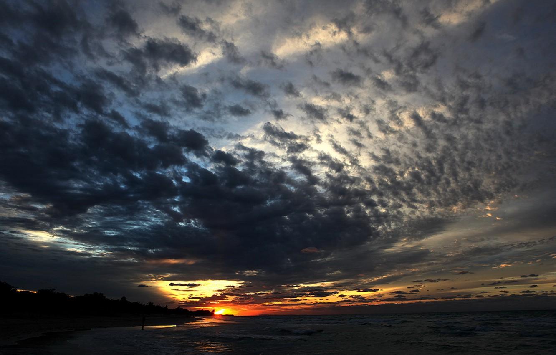 Photo wallpaper clouds, sunset, the evening, Varadero