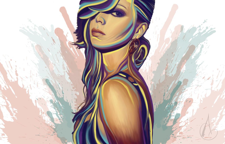 Photo wallpaper look, girl, face, background, paint, hair, earrings, art, painting