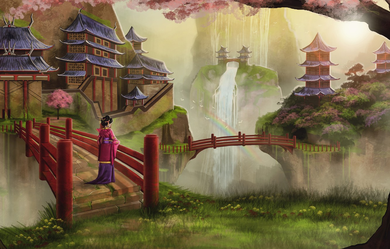 Photo wallpaper girl, trees, birds, Asia, waterfall, rainbow, spring, Sakura, art, geisha, kimono, bridges, flowering, temples