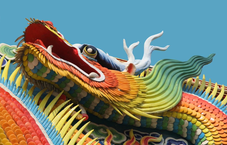 Photo wallpaper dragon, China, building
