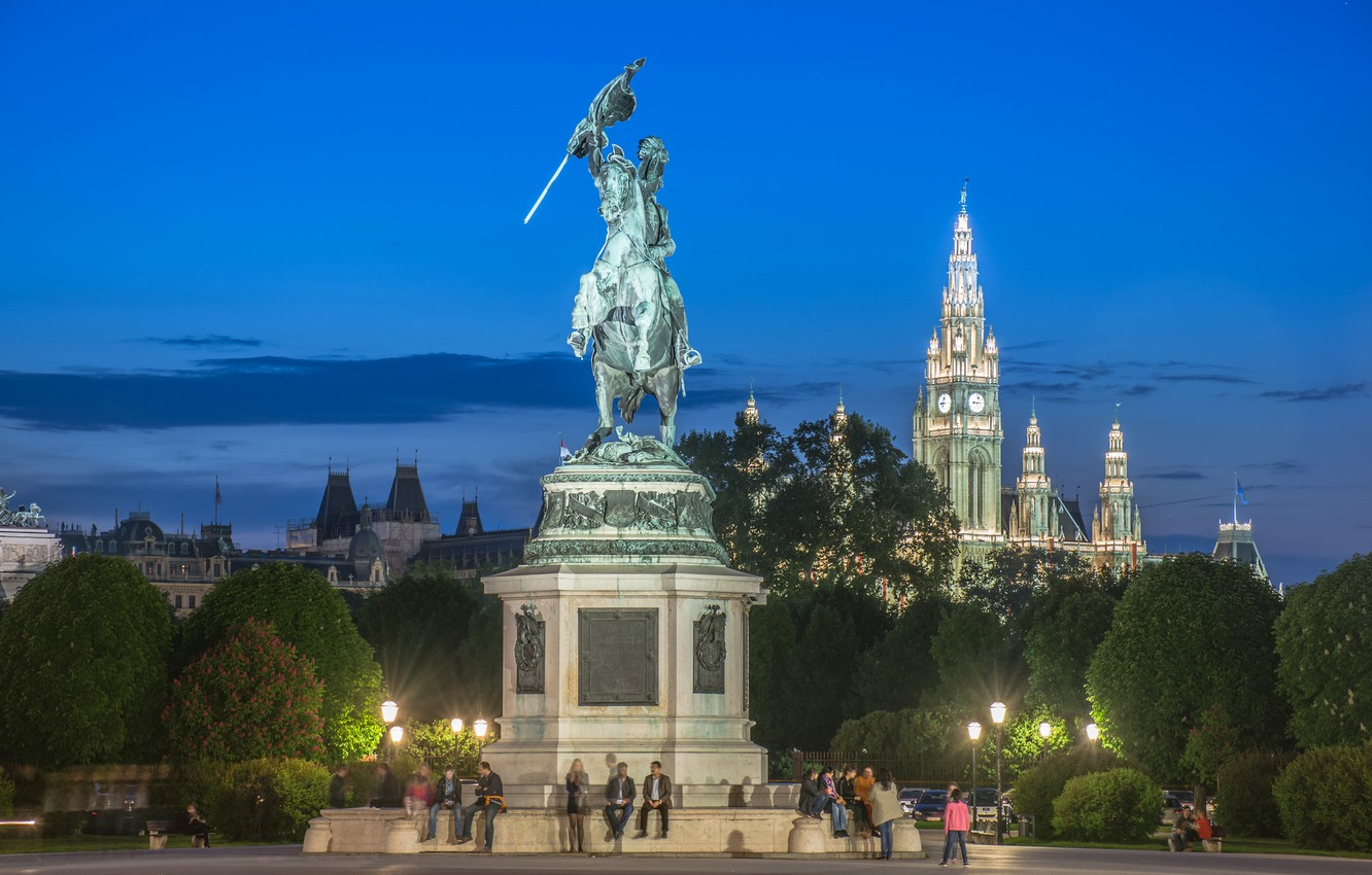 Photo wallpaper trees, lights, people, the evening, Austria, monument, town hall, Vienna, Hofburg