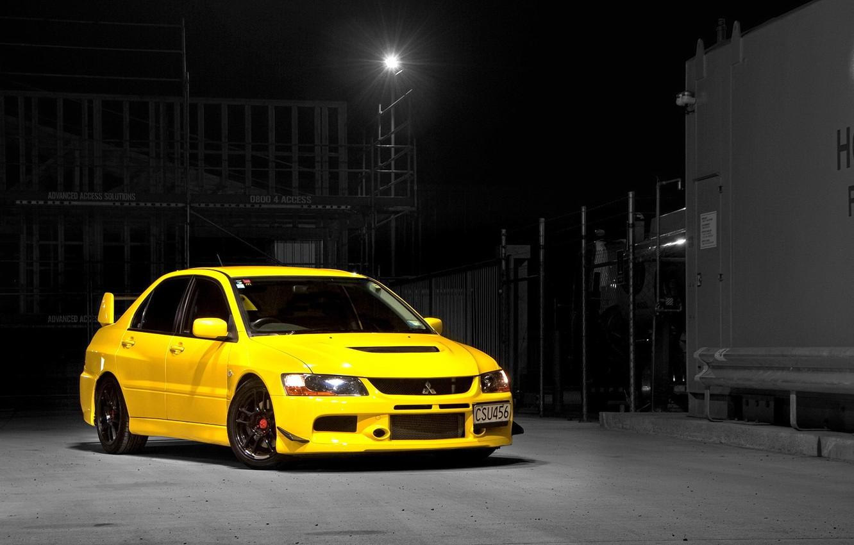 Photo wallpaper Mitsubishi, Lancer, Evolution, Night, Yellow