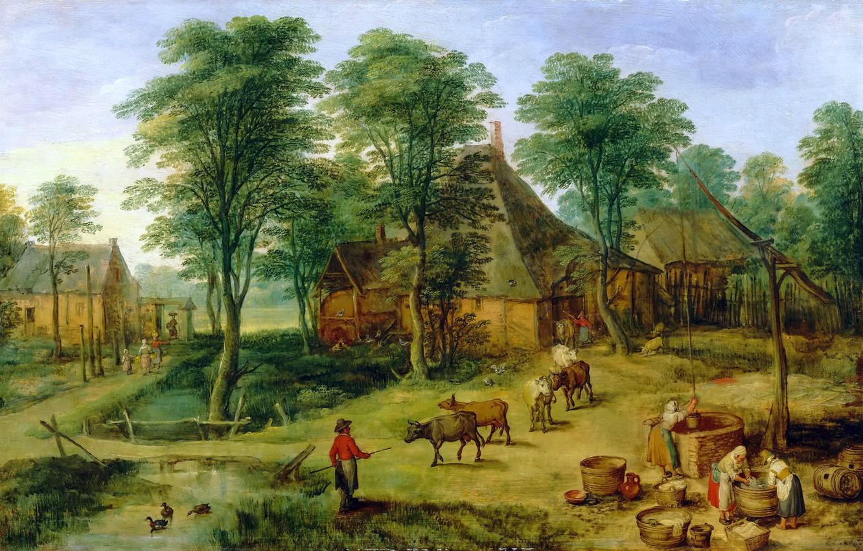 Photo wallpaper landscape, picture, Jan Brueghel the younger, The Farm
