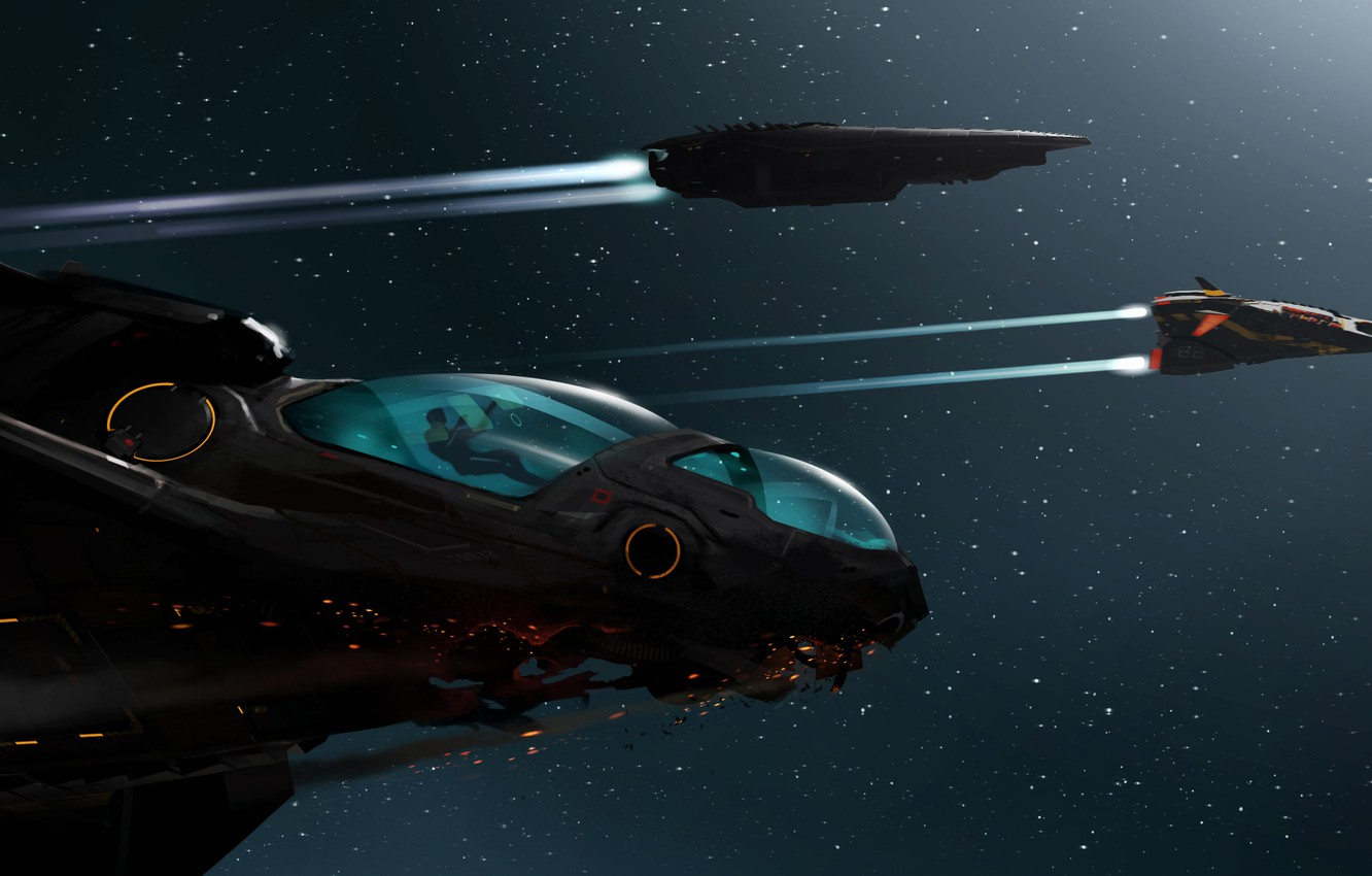 Photo wallpaper space, stars, flight, people, ships, art, elite, dangerous, Ryvax