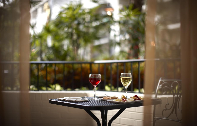 Photo wallpaper wine, food, glasses, balcony, table