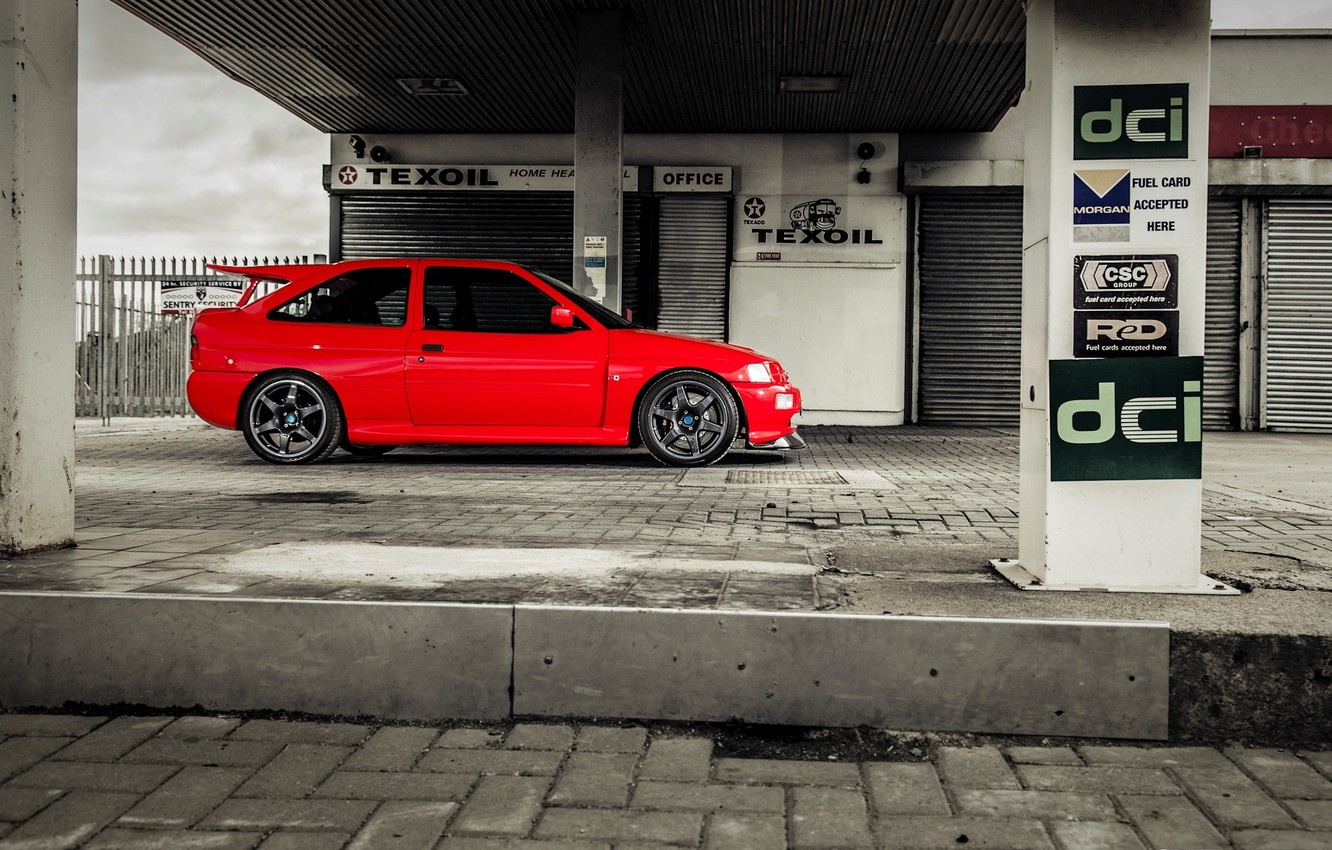 Photo wallpaper car, red, ford, lady, speedhunters, cosworth