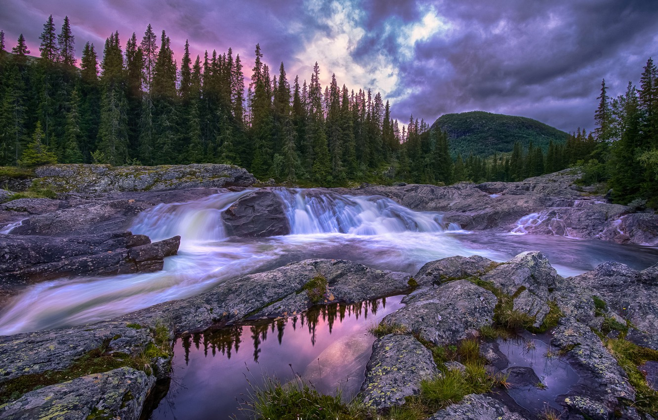 Photo wallpaper forest, the sky, water, clouds, river, the evening, Norway, threads