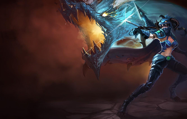 Photo wallpaper lol, Vayne, League Of Legend, Dragon Killer