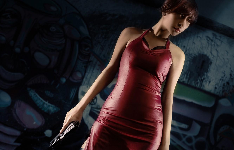Photo wallpaper girl, gun, dress, Resident Evil