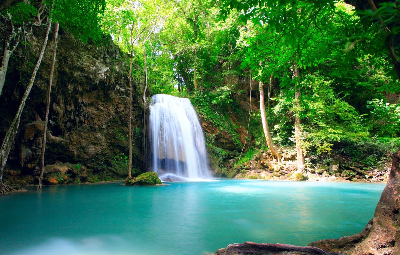 Photo wallpaper greens, water, trees, nature, pond, waterfall, stream