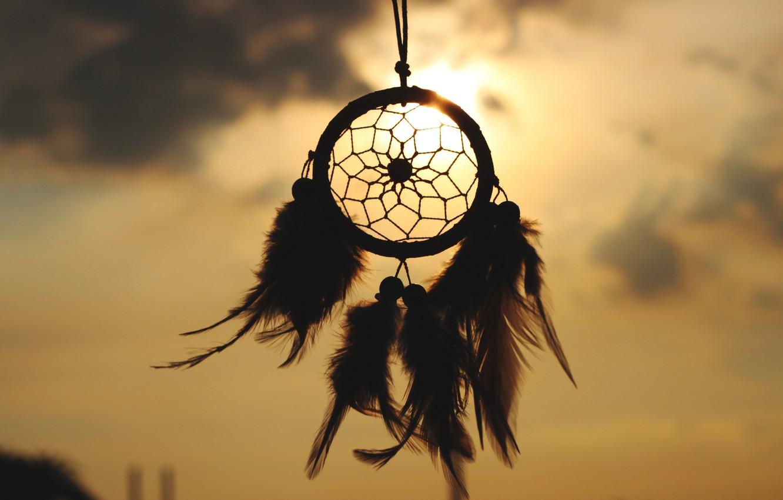 Photo wallpaper the sky, the sun, feathers, talisman, amulet, Dreamcatcher, Dreamcatcher