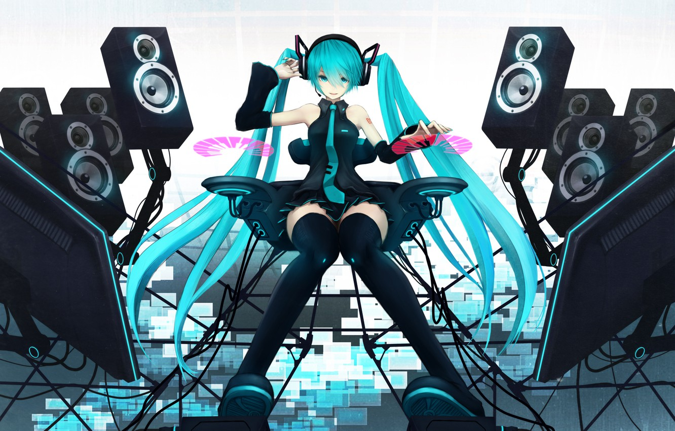 Wallpaper Girl Speakers Vocaloid Hatsune Miku Vocaloid