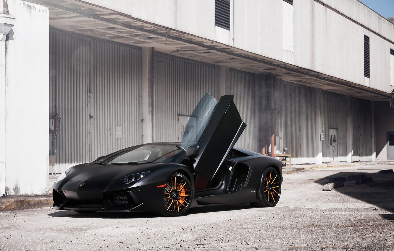 Photo wallpaper black, the building, lamborghini, black, front view, aventador, lp700-4, Lamborghini, aventador, guillotine, door
