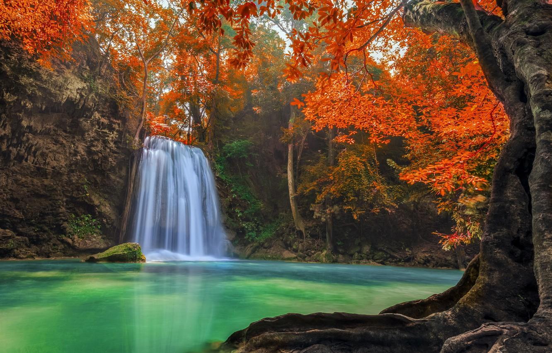 Photo wallpaper forest, Thailand, landscape, jungle, Erawan Waterfall