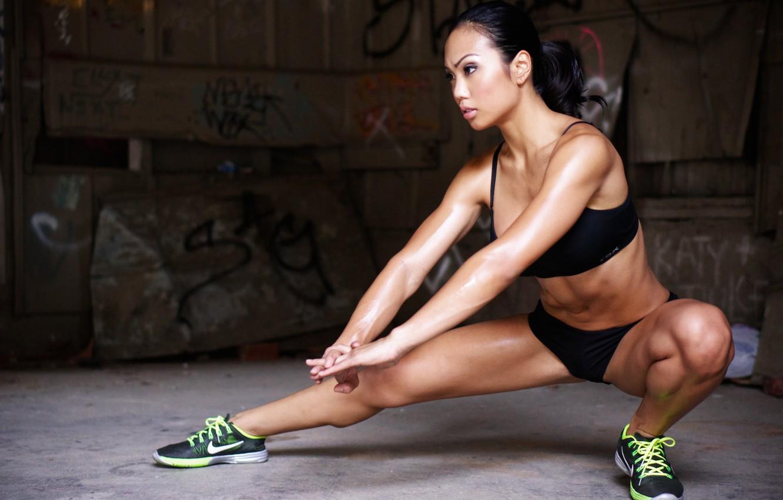 Photo wallpaper fitness, sweating, sportswear, elongation