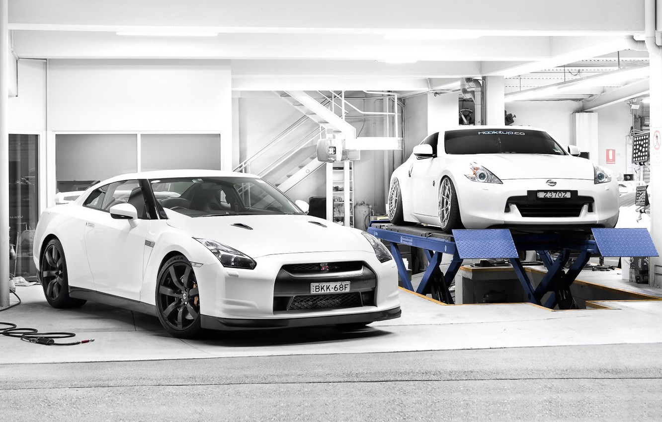 Wallpaper White Tuning Garage Nissan Two Nissan Gt R 370z Lift Images For Desktop Section Nissan Download