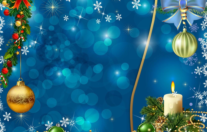 Photo wallpaper balls, snowflakes, branches, balls, graphics, candle, Christmas, New year, beads, garland