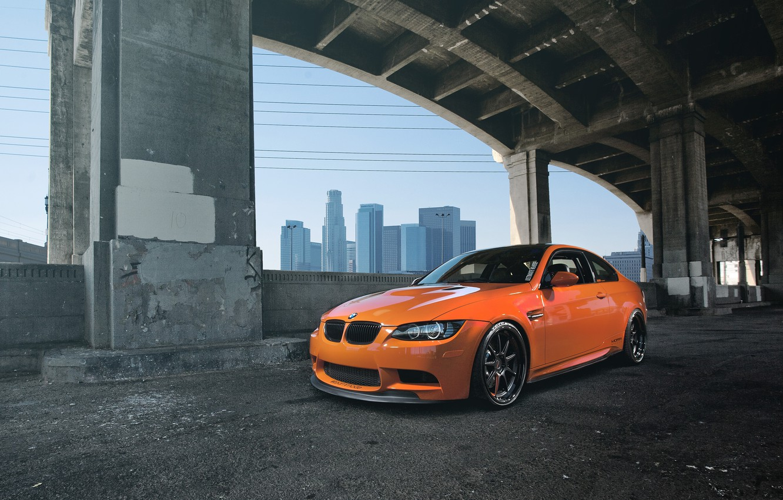 Photo wallpaper orange, bridge, bmw, BMW, support, front view, orange, e92