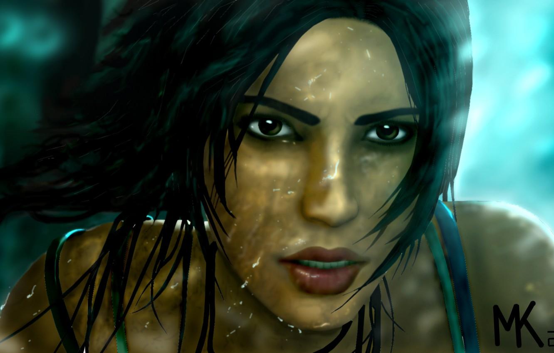 Photo wallpaper look, water, girl, drops, squirt, face, hair, the game, 2013, Tomb raider, Lara croft
