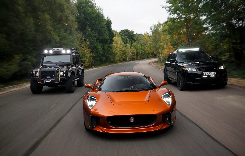 Photo wallpaper speed, track, Jaguar, three, Land Rover, Defender, C-X75, 2015, 007 Spectre