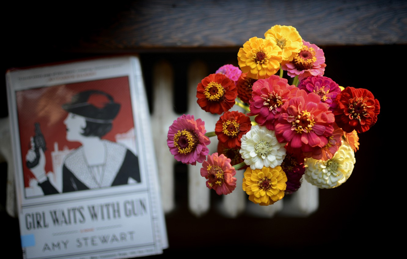 Photo wallpaper flowers, bouquet, petals, book