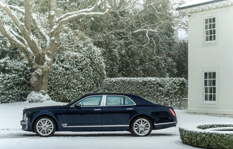 Photo wallpaper Winter, Auto, Bentley, Blue, Snow, Machine, The building, sedan, Suite, Side view, mulsanne, Snowfall