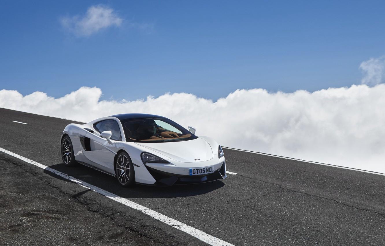 Photo wallpaper road, auto, the sky, clouds, McLaren, 570GT