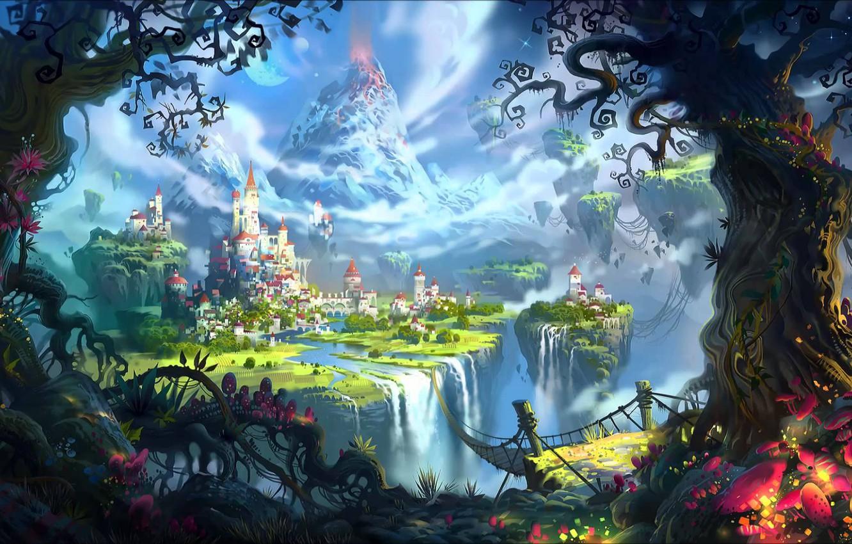 Photo wallpaper trees, bridge, the city, river, castle, fiction, magic