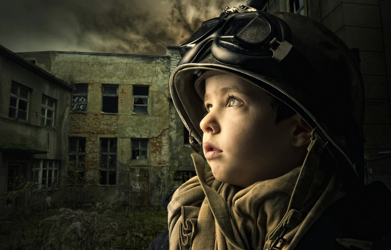Photo wallpaper the building, boy, glasses, helmet, devastation, child