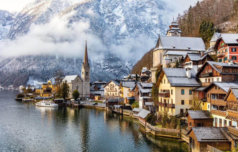 Photo wallpaper mountains, lake, home, Austria, Alps, Austria, Hallstatt, Alps, Lake Hallstatt, Hallstatt, Lake Hallstatt